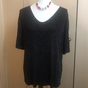Ultimate Woman 1X Black Sparkling Top